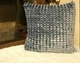 "Plush Huge Pillows: Scalloped Grey, Blue Marble Squares, Furry Plush Faux Fur 23"" x 23"" inch Comfy Leisure Décor Pillows"
