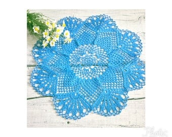 Blue Crochet Lace Doily, Modern Table Topper,  Lace Table Accessory, Big Crochet Doily, Hand Crocheted Items