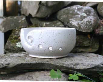 White Speckled VERTIGO Yarn Bowl~Knitting Bowl~ Handmade in Studio ~ Ready to ship !!!