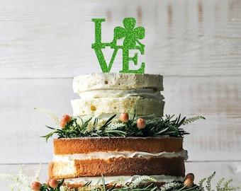 Wedding LOVE Cake Topper - St Patrick's Day Cake Topper - Irish Theme Wedding - Lucky in Love - Four Leaf Clover Topper - Green Glitter