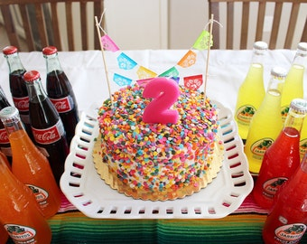 Fiesta cake topper - miniature papel picado garland - Ready to ship