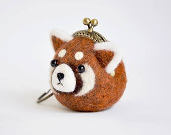 Red Panda Coin Purse Keychain, Red Panda Gift, Wet felted Coin Purse, Kiss Lock purse, Animal purse