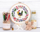 Christmas bird cross stitch pattern PDF instant download Modern Wreath Floral Flower Winter Holiday Xmas Gift Colorful Cute Merry New Year