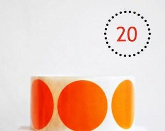 Gloss Orange {20} Dot Stickers {2.0in} Envelope Seals | Orange Stickers | Housewarming | Sweet 16 | Fun Gift Wrapping