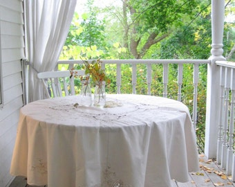 Round Tablecloth, Crochet Inserts and Applique, Wedding Cloth, Cream, Cottage Charm, Shabby French, Vintage, by mailordervintage on etsy