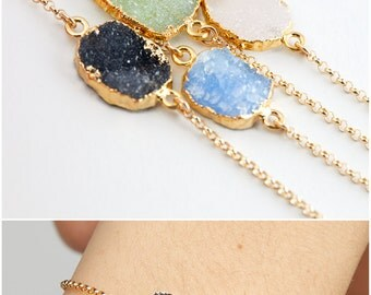 Dainty Druzy Bracelet, Gemstone Bracelet, Crystal Bracelet, Gold Filled Chain Bracelet, 14k Gold Filled, Sterling Silver