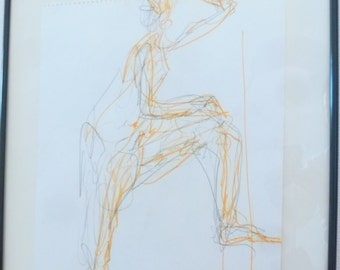 Original drawing of pencil and pastel chalk signed, modern, abstract nude in the studio, female nude body drawing, A2