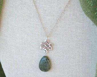 Connemara Marble Rainy Irish Day Eternity Knot pewter and sterling silver necklace
