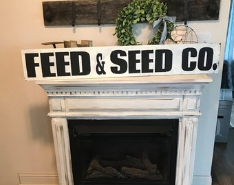 Feed and seed sign / black and white /  feed and seed co.  sign / distressed / country sign / hand painted / wall sign / wall decor