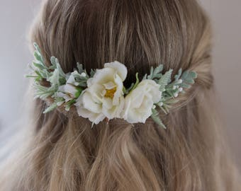 Wedding Flower Comb- Bridal headpiece- Elegant wedding Comb- Ivory Floral Comb- Back Flower Comb- Sage Greenery Comb- Summer Wedding