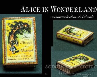 Alice's adventures in Wonderland miniature book, Dollhouse Miniature 1/12 scale,  paper cover. Display for library, fantasy setting, 1 inch