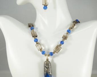 Lampwork pendant necklace, Smoky Quartz Necklace, Blue Necklace, Smoky Quartz earrings, Gemstone Jewelry, Free Shipping, Item #522