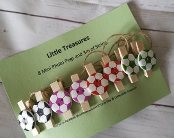 Photo pegs - picture pegs with string ~ football - teenager ~ kids bedroom ~ playroom ~ art area