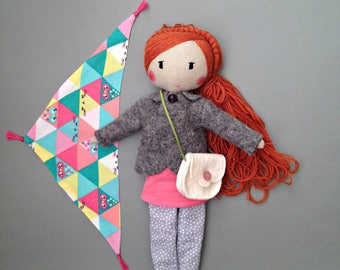 ELOIS rag doll - Unique doll to be dressed with bag and scarf - Unique handmade cloth doll