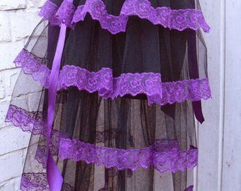 Black / Purple bustle skirt Black tulle with Purple embroidered lace / ribbon Gothic Victorian Burlesque Steampunk tutu Whitby Party outfit
