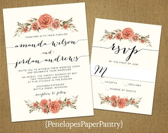 Simple Spring Wedding Invitations,Ivory,Red Roses,Calligraphy,Elegant,Formal,Customize,Printed Invitations,Invitation Sets,Ivory Envelopes