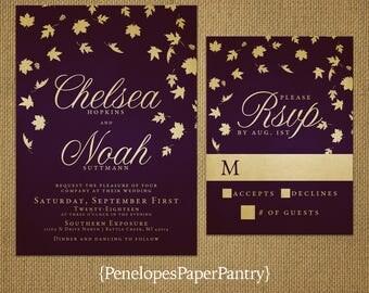 Elegant Purple Fall Wedding Invitation,Purple,Gold,Falling Leaves,Calligraphy,Traditional,Formal,Romantic,Custom,Printed Invitation,or Set
