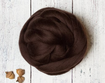 Mocha 1 oz Ethical Merino Wool Roving Top Fiber for Felting and Spinning, Dark Brown, Eco / Animal Friendly, from Non-mulesed Sheep
