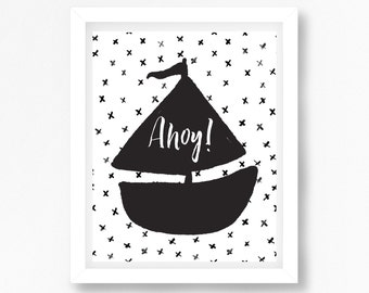 Monochrome Nursery Decor, Modern Nursery Wall Art, Black and White Nursery Print, Sailboat Nursery Print, Nautical Nursery, Baby Shower Gift