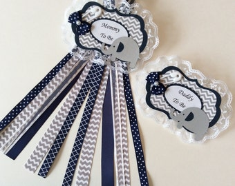 Navy blue elephant baby shower corsage set/Navy blue and grey chevron Mommy to be pin/Elephant Mommy to be pin/Boy baby shower corsage
