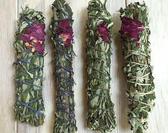 Wildcrafted Mugwort & Rose Smudge Stick