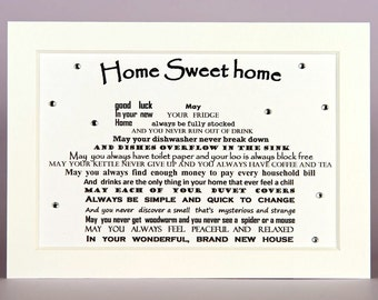new home card, new home gift, new home housewarming gift, new house card, new house gift, personalised house shaped poem