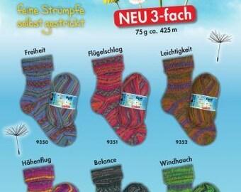 Opal Sock Yarn 3 ply NOTE 3 ply 75% wool 25 nylon 75 grams  470 yards superwash multiple choice