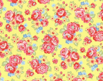 Retro 30's Child Smile Floral Bouquet fabric in Yellow from Lecien #31444-50 Fall 2016