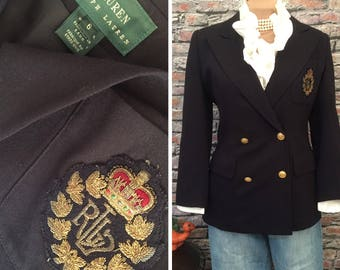 Vintage Ralph Lauren Navy Blue Crested Double Breasted Blazer   Womens Size 6