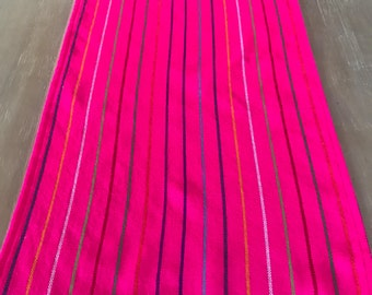 Mexican Table Runner, Tablecloth, Placemats Or Napkins. Striped Colorful Hot  Pink Fabric,