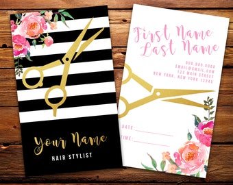 Hair Stylist Business Cards Salon Barber Cards // Custom Striped Watercolor Florals