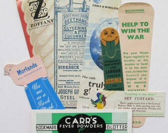 Eight Vintage  Advertising  book marks.