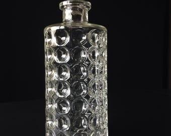 French Vintage Glass Decanter.//Vintage// Bubble design//1960s.