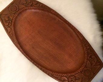Mid-century TEAK carved tray