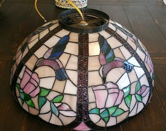 IFFANY Style Stained Spectrum Glass W/ Hummingbirds Ceiling Light Fixture