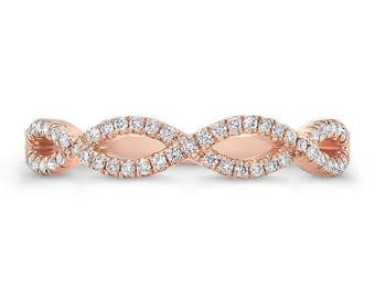 0.70 Ct. Brilliant Round Cut Eternity Infinity Shaped Diamond Wedding Band or Anniversary Ring on 14K Rose Gold