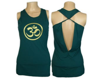 Om Yoga Shirt- Open Back Extended Length Tank Top- WK7