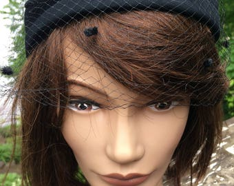 Vintage Black Pillbox Hat with Netting 1960s