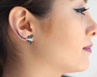Dragonfly Ear Climbers / Sterling Silver / Pair