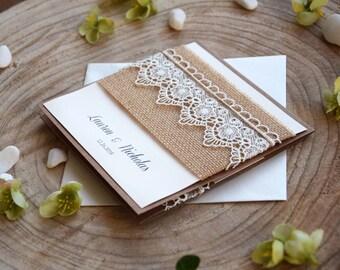 Burlap and Lace Wedding Invitation, Eco friendly and Rustic Wedding Invitation, Pocket Lace Invitation, Rustic Lace Invitation - SAMPLE
