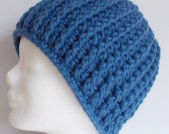 ribbed beanie, hat, wooly hat, blue, crochet