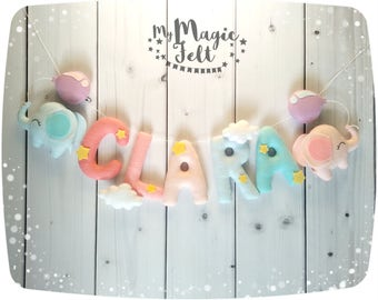 Felt name banner Elephant clouds Nursery name bunting Elephants nursery Personalized name banner Travel nursery baby name garland baby gift