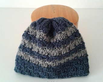 CAP for boy hand-made knit in wool mixed - Blue cap with grey stripes - child winter Cap.