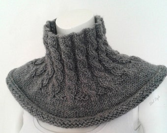 Handmade knit cowl neck warmer scarf cable wool blend gray idea gift mixed man woman unisex birthday Christmas