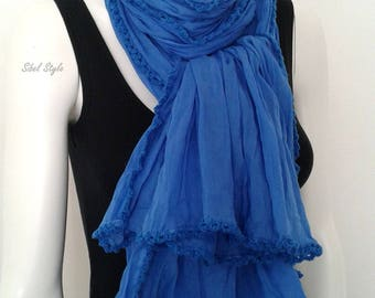 Crinkle cotton scarf womens scarf stole shawl wrap blue cotton scarf gift for her.