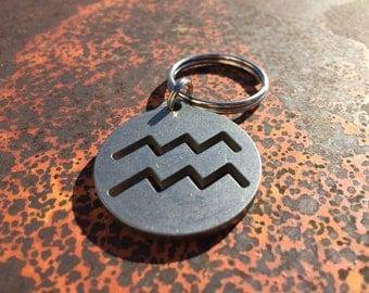 Stainless Steel Aquarius Keychain, Zodiac Keychain, Astrology Keychain, Horoscope Keychain