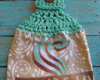 Mint Green Crochet Top with You're My Cup of Coffee Hanging Dish Kitchen Towel