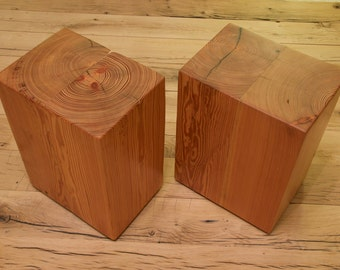 Pitch Pine Block Stools