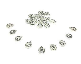 26 charms round letters Alphabet silver Matt