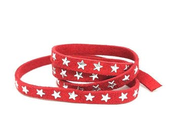 3 star 8mm red suede m
